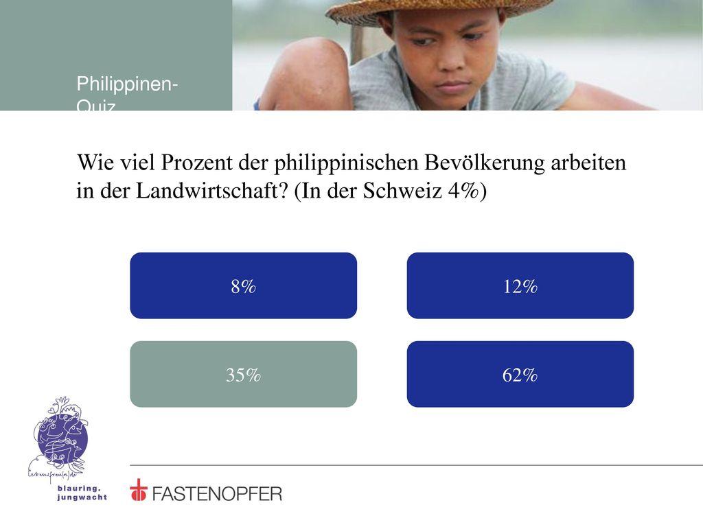 Philippinen-Quiz Wie viel Prozent der philippinischen Bevölkerung arbeiten in der Landwirtschaft (In der Schweiz 4%)
