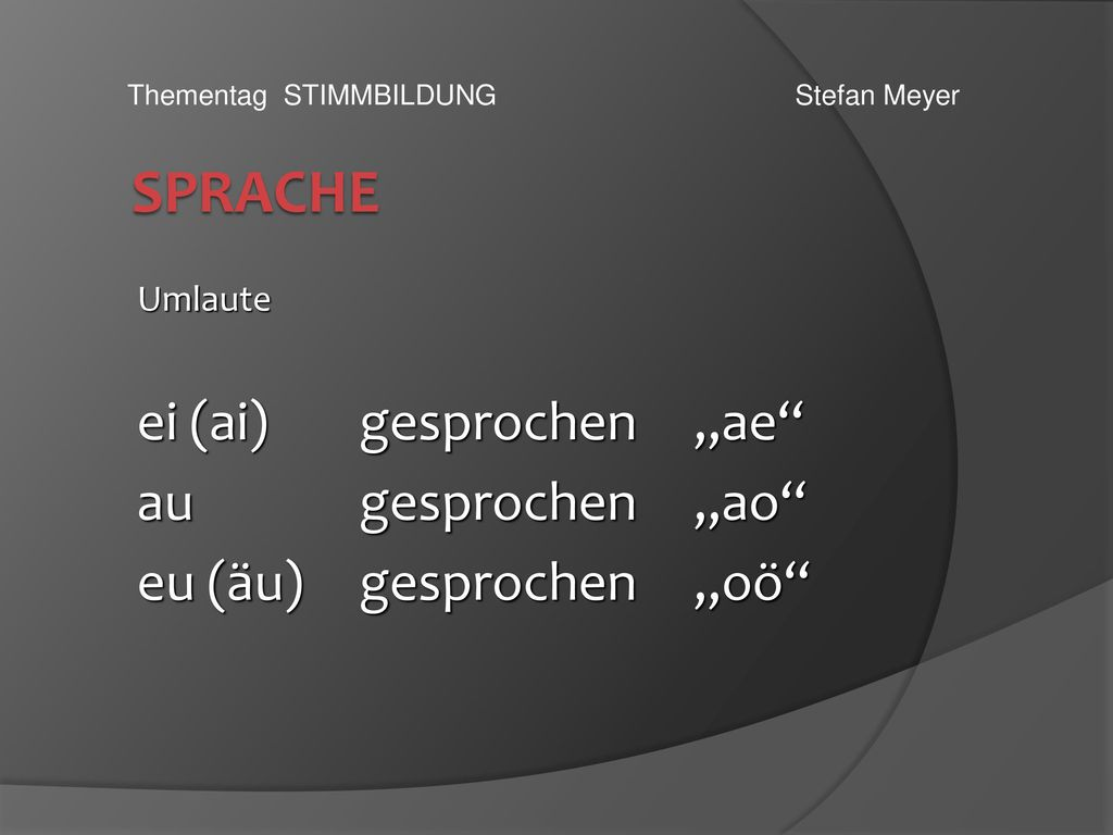 "SPRACHE ei (ai) gesprochen ""ae au gesprochen ""ao"