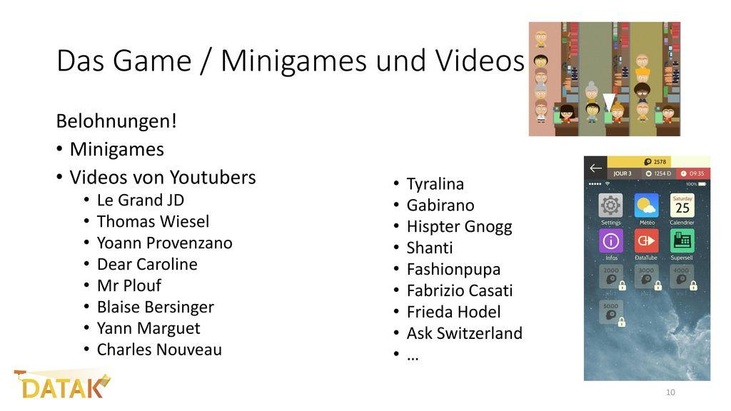 Das Game / Minigames und Videos