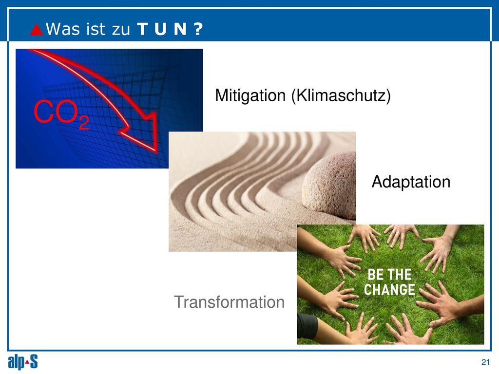 CO2 Was ist zu T U N Mitigation (Klimaschutz) Adaptation