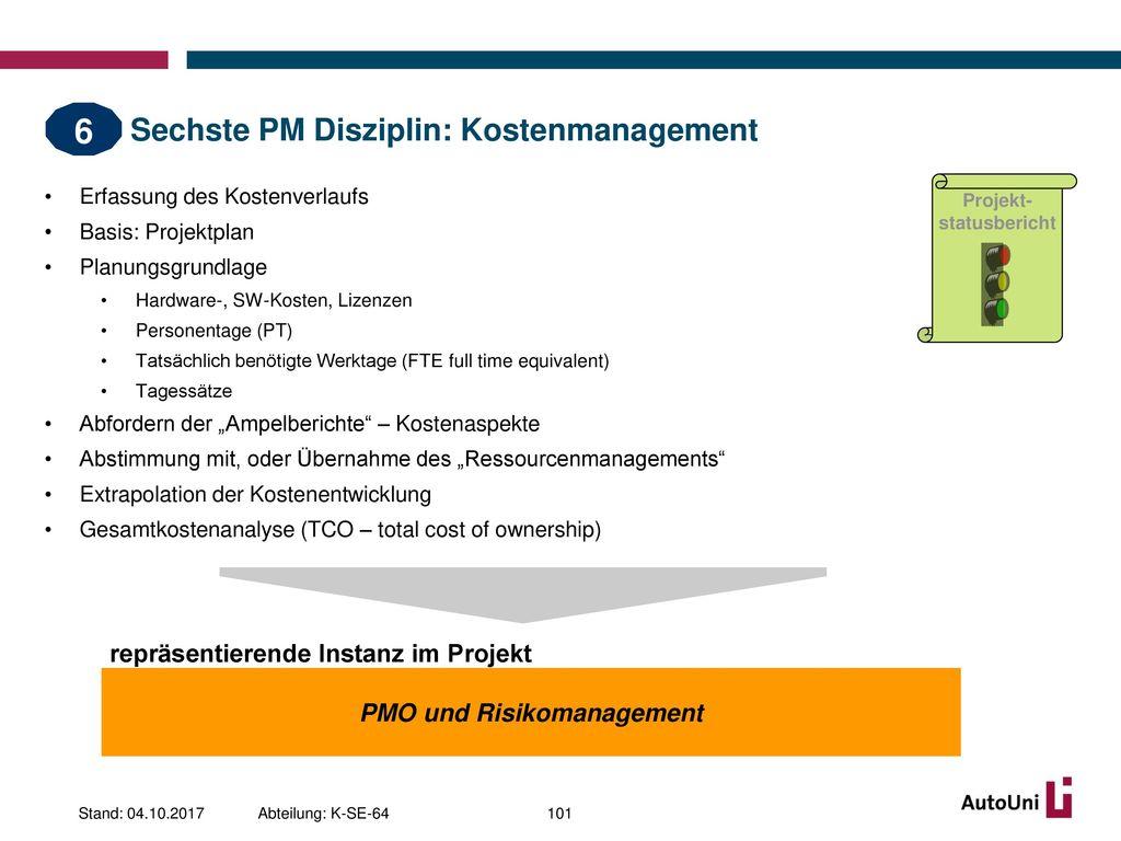 Sechste PM Disziplin: Kostenmanagement