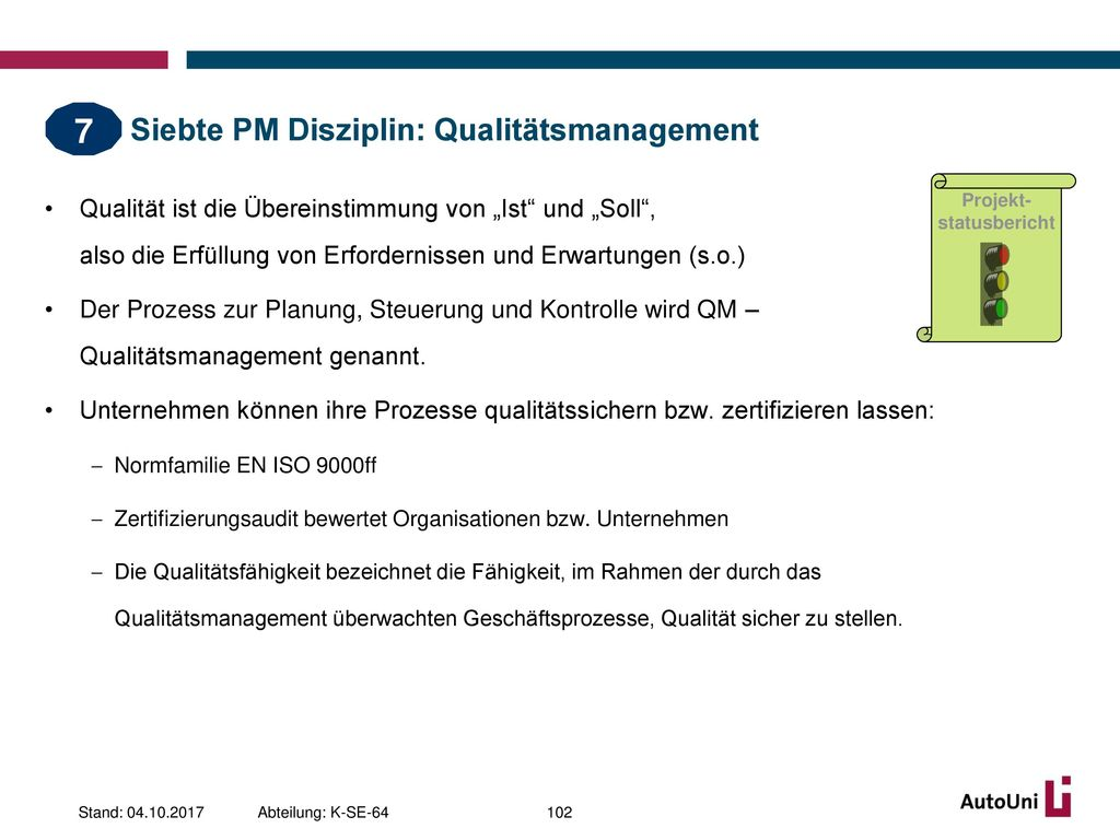 Siebte PM Disziplin: Qualitätsmanagement