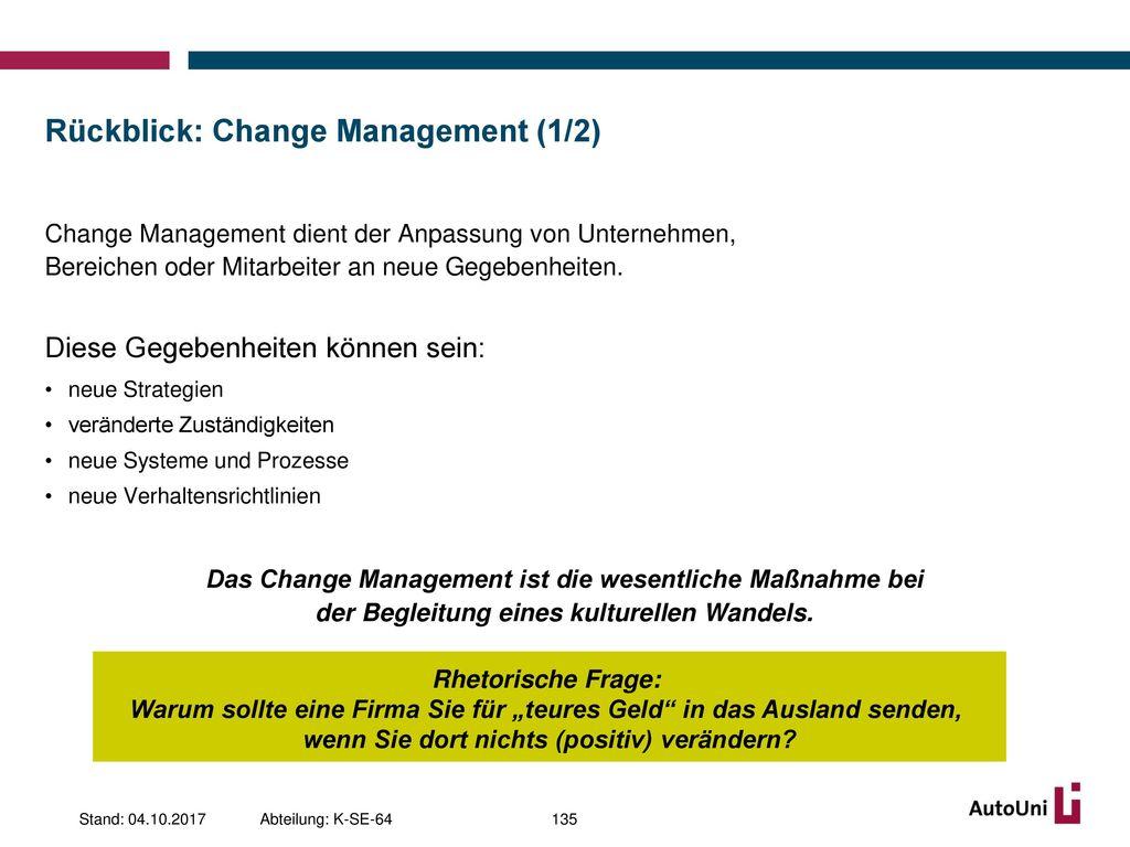 Rückblick: Change Management (1/2)