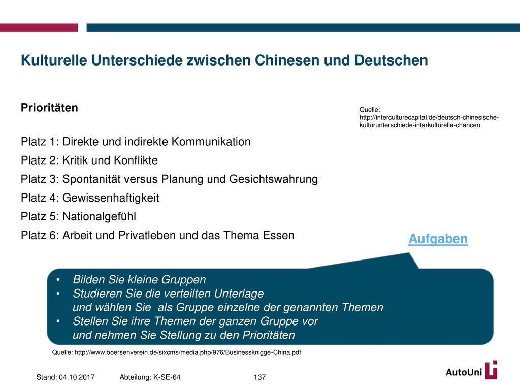 Kulturelle Unterschiede zwischen Chinesen und Deutschen