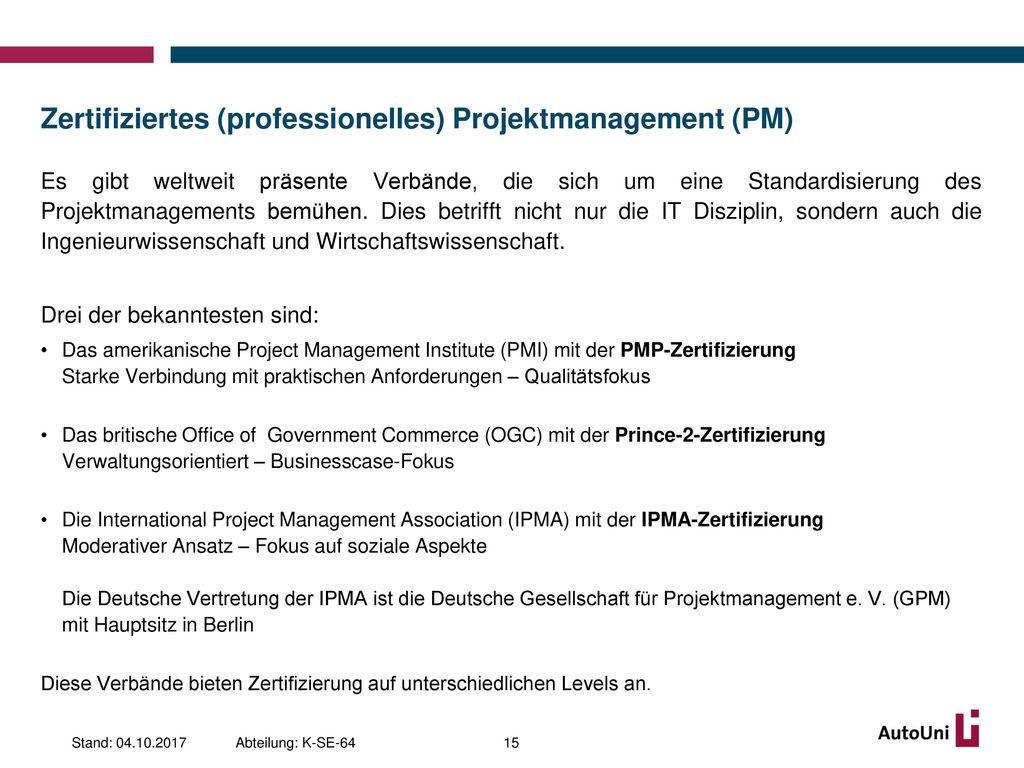 Zertifiziertes (professionelles) Projektmanagement (PM)
