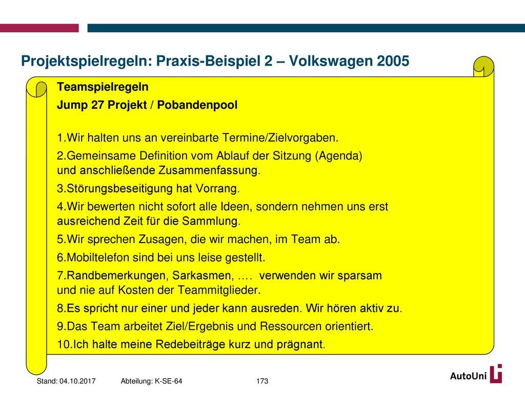Projektspielregeln: Praxis-Beispiel 2 – Volkswagen 2005