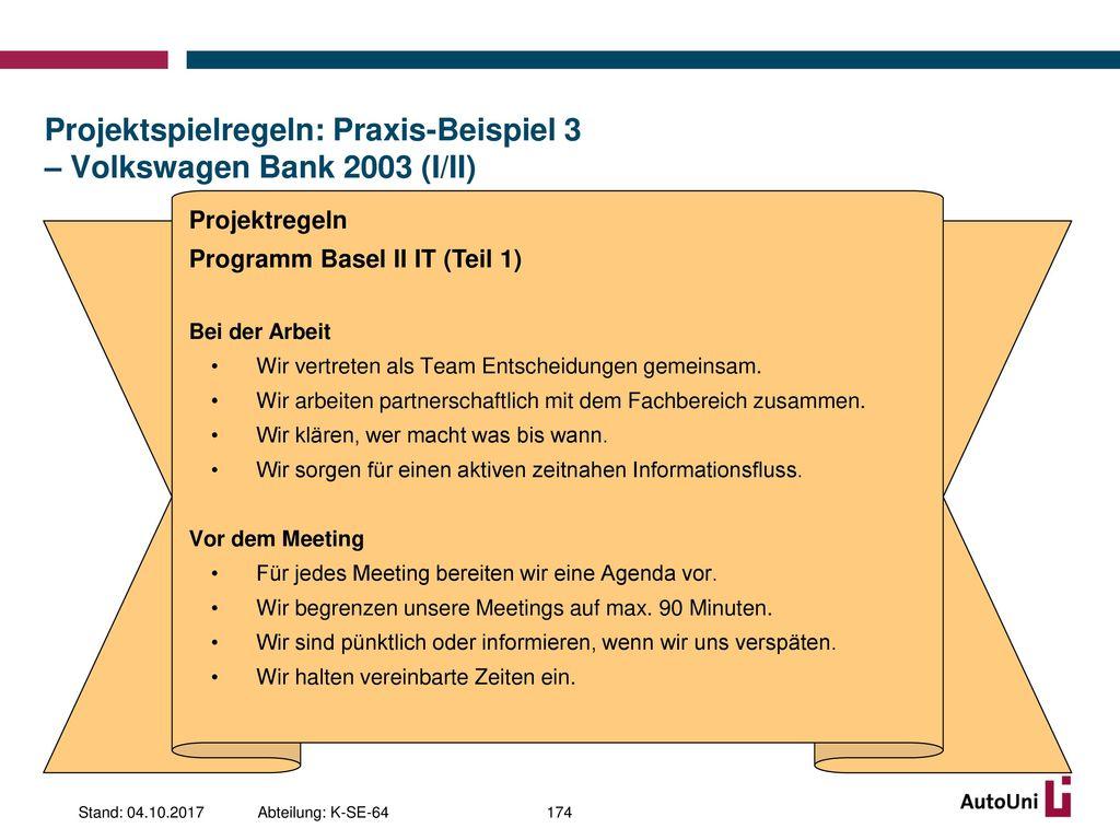 Projektspielregeln: Praxis-Beispiel 3 – Volkswagen Bank 2003 (I/II)