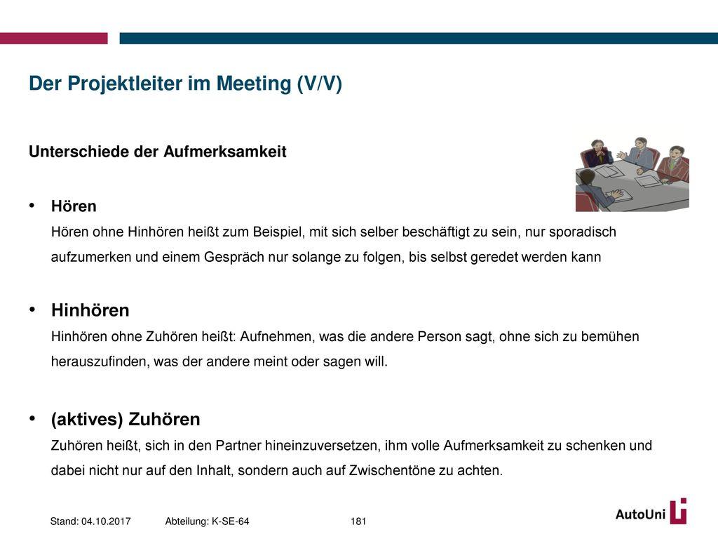 Der Projektleiter im Meeting (V/V)
