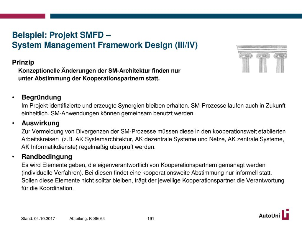 Beispiel: Projekt SMFD – System Management Framework Design (III/IV)