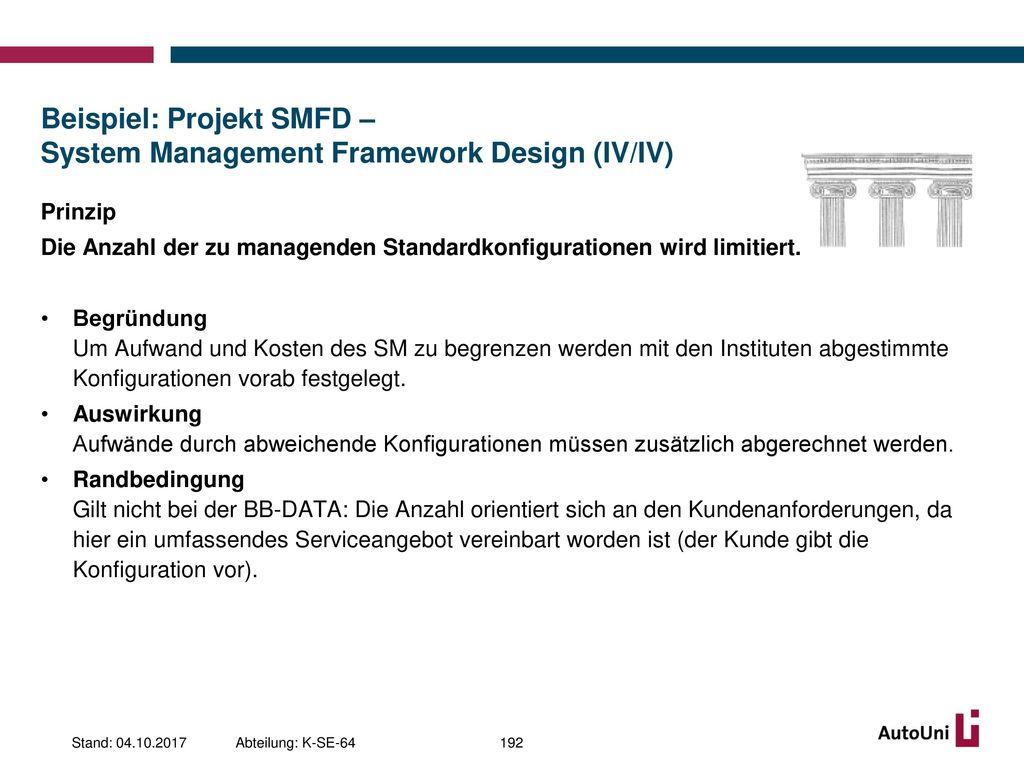 Beispiel: Projekt SMFD – System Management Framework Design (IV/IV)