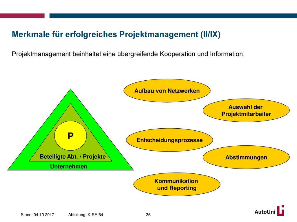 Merkmale für erfolgreiches Projektmanagement (II/IX)