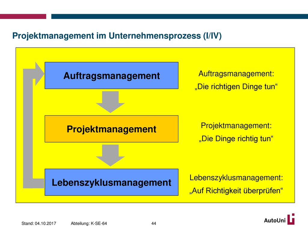 Projektmanagement im Unternehmensprozess (I/IV)