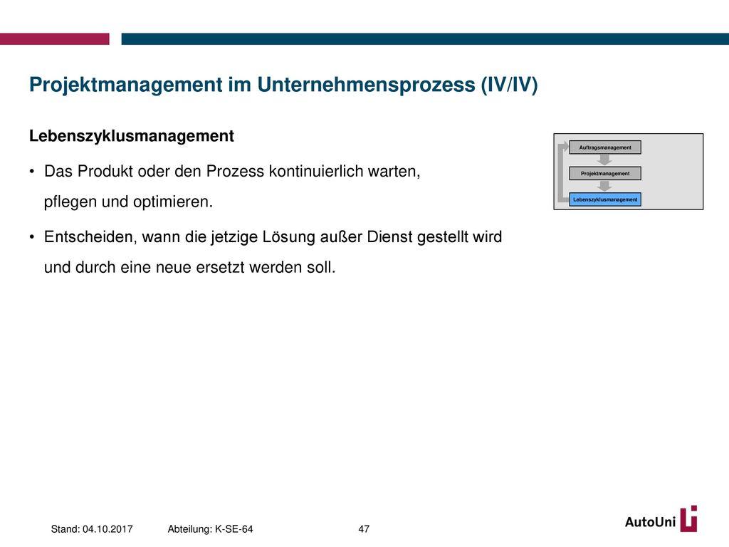 Projektmanagement im Unternehmensprozess (IV/IV)