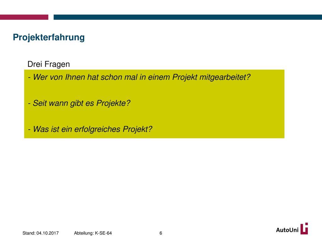 Projekterfahrung Drei Fragen