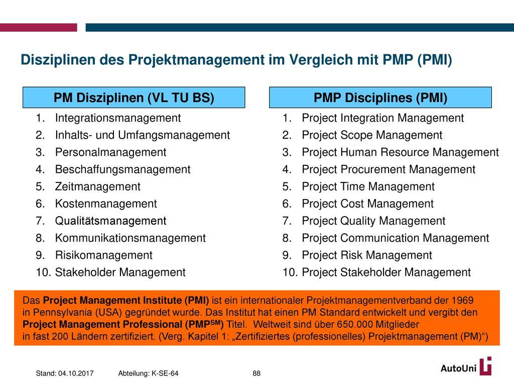 Disziplinen des Projektmanagement im Vergleich mit PMP (PMI)