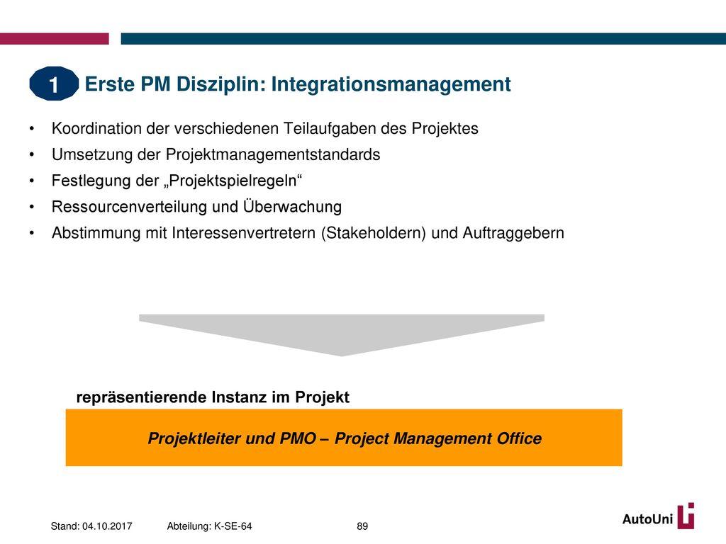 Erste PM Disziplin: Integrationsmanagement