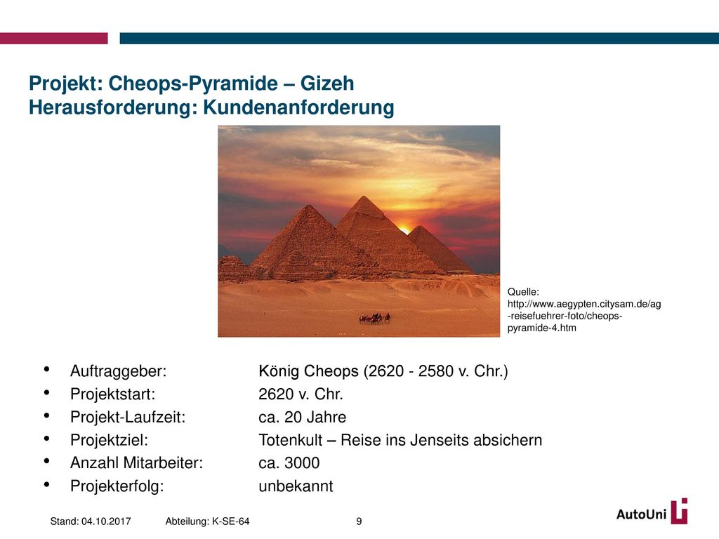 Projekt: Cheops-Pyramide – Gizeh Herausforderung: Kundenanforderung