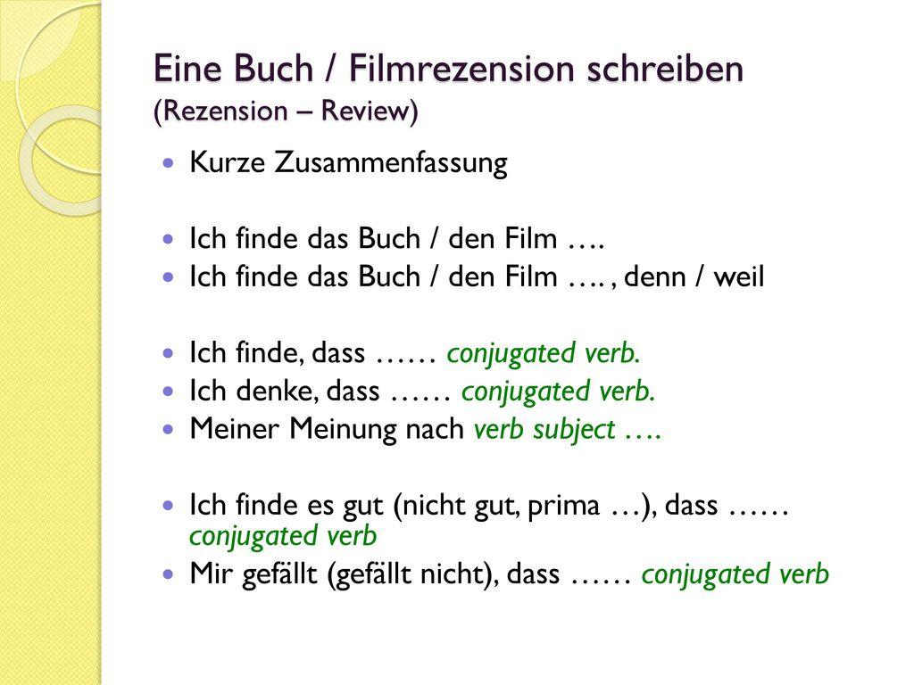 Eine Buch / Filmrezension schreiben (Rezension – Review)