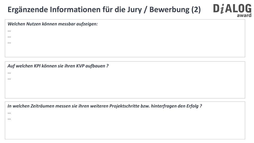 Ergänzende Informationen für die Jury / Bewerbung (2)