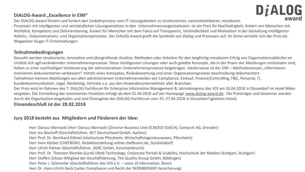 "DiALOG-Award ""Excellence in EIM"