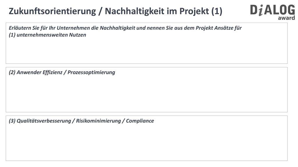 Zukunftsorientierung / Nachhaltigkeit im Projekt (1)
