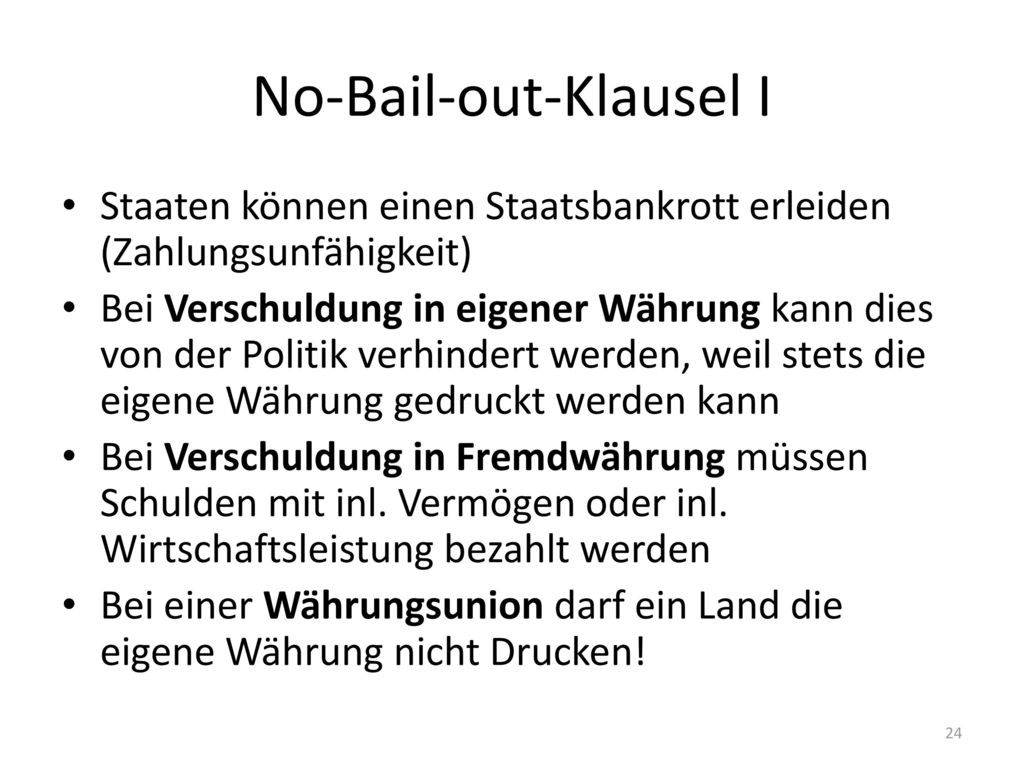 No-Bail-out-Klausel I