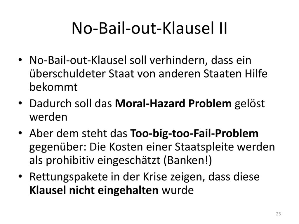No-Bail-out-Klausel II