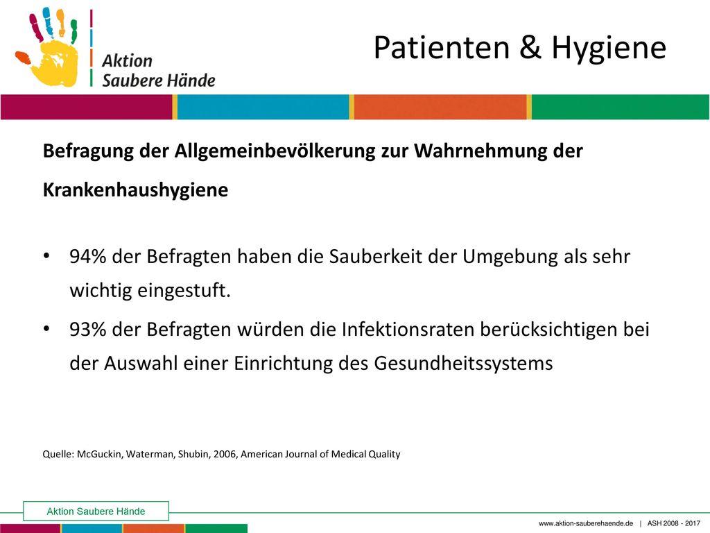 Patienten & Hygiene Befragung der Allgemeinbevölkerung zur Wahrnehmung der Krankenhaushygiene.