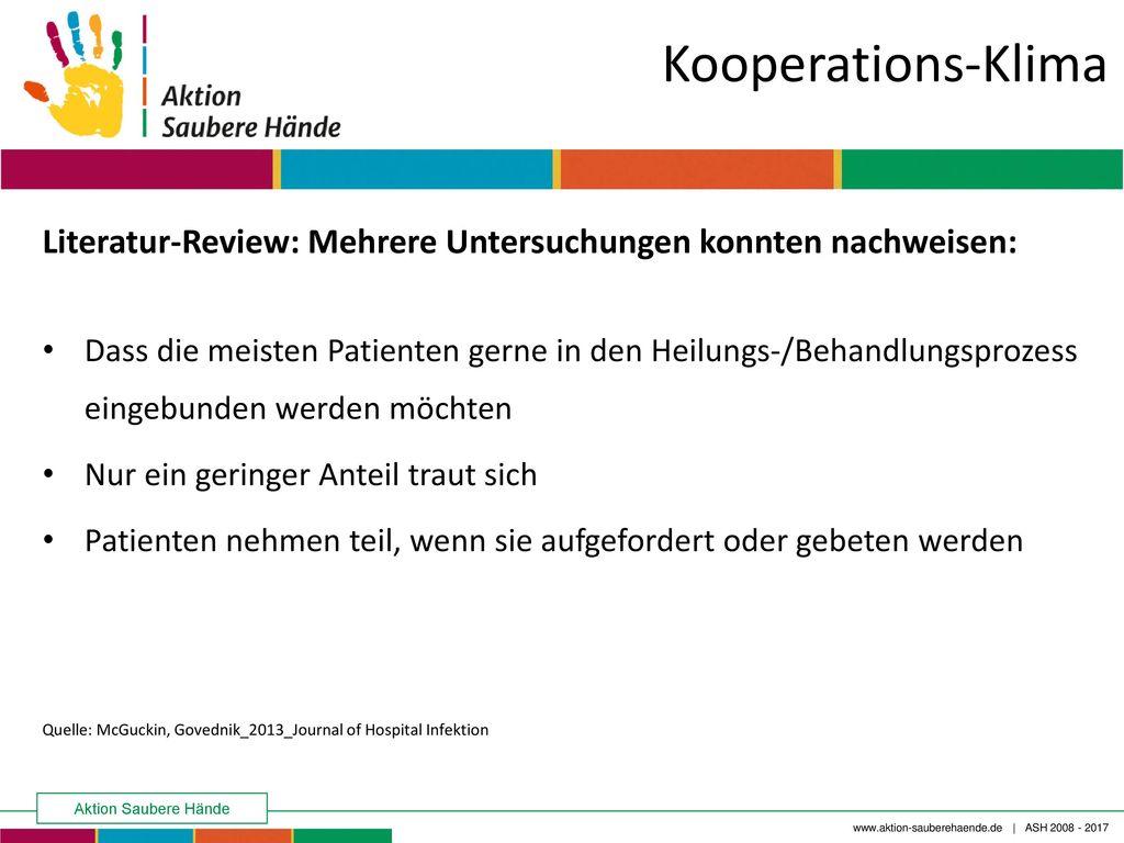Kooperations-Klima Literatur-Review: Mehrere Untersuchungen konnten nachweisen: