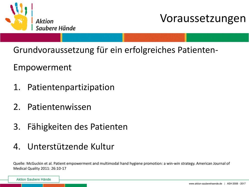 Voraussetzungen Grundvoraussetzung für ein erfolgreiches Patienten-Empowerment. Patientenpartizipation.