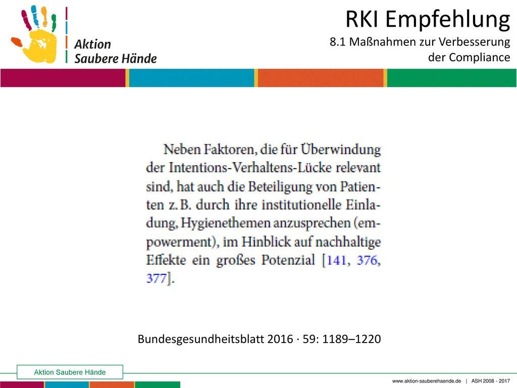 RKI Empfehlung 8.1 Maßnahmen zur Verbesserung der Compliance