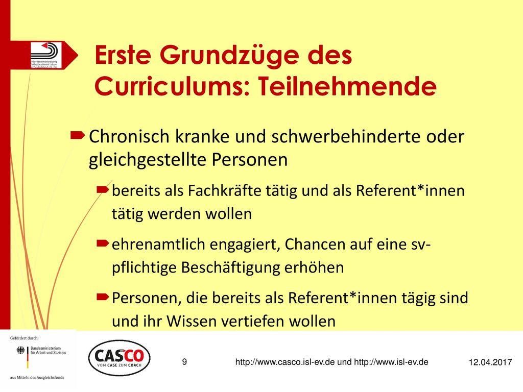 Erste Grundzüge des Curriculums: Teilnehmende