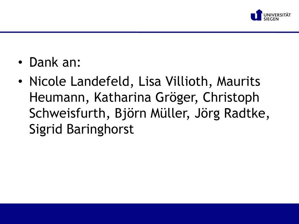 Dank an: Nicole Landefeld, Lisa Villioth, Maurits Heumann, Katharina Gröger, Christoph Schweisfurth, Björn Müller, Jörg Radtke, Sigrid Baringhorst.