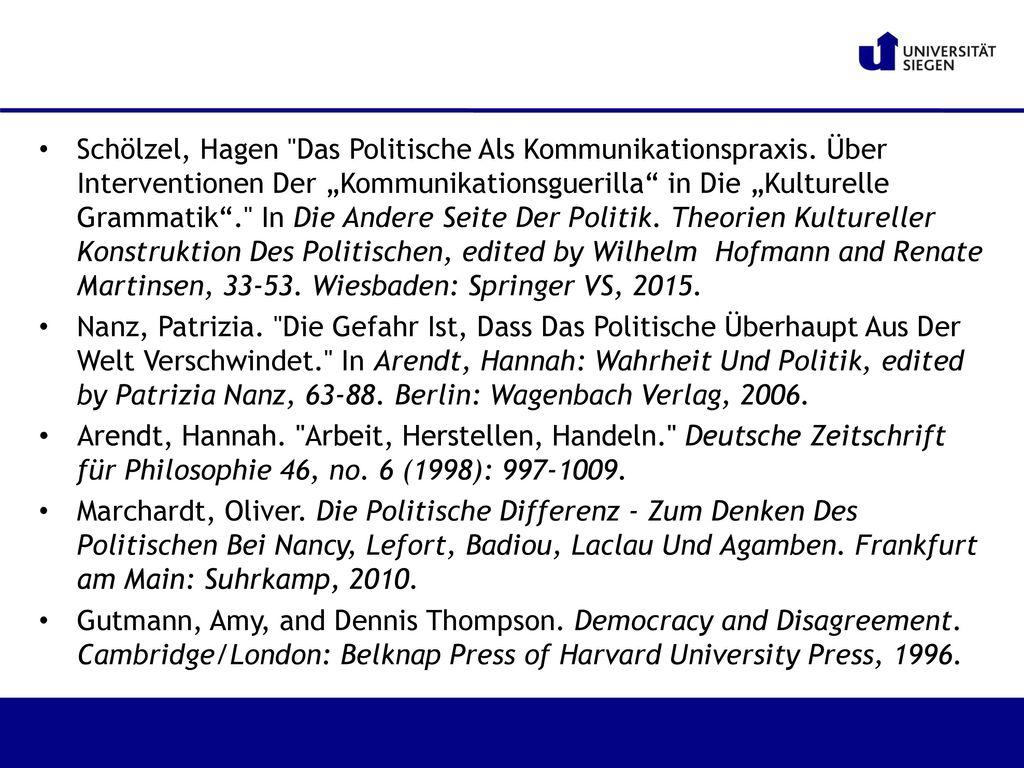 Schölzel, Hagen Das Politische Als Kommunikationspraxis