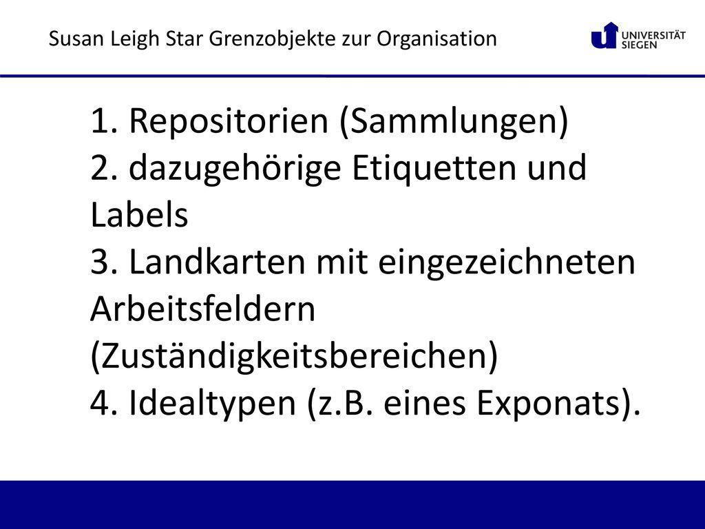 1. Repositorien (Sammlungen) 2. dazugehörige Etiquetten und Labels