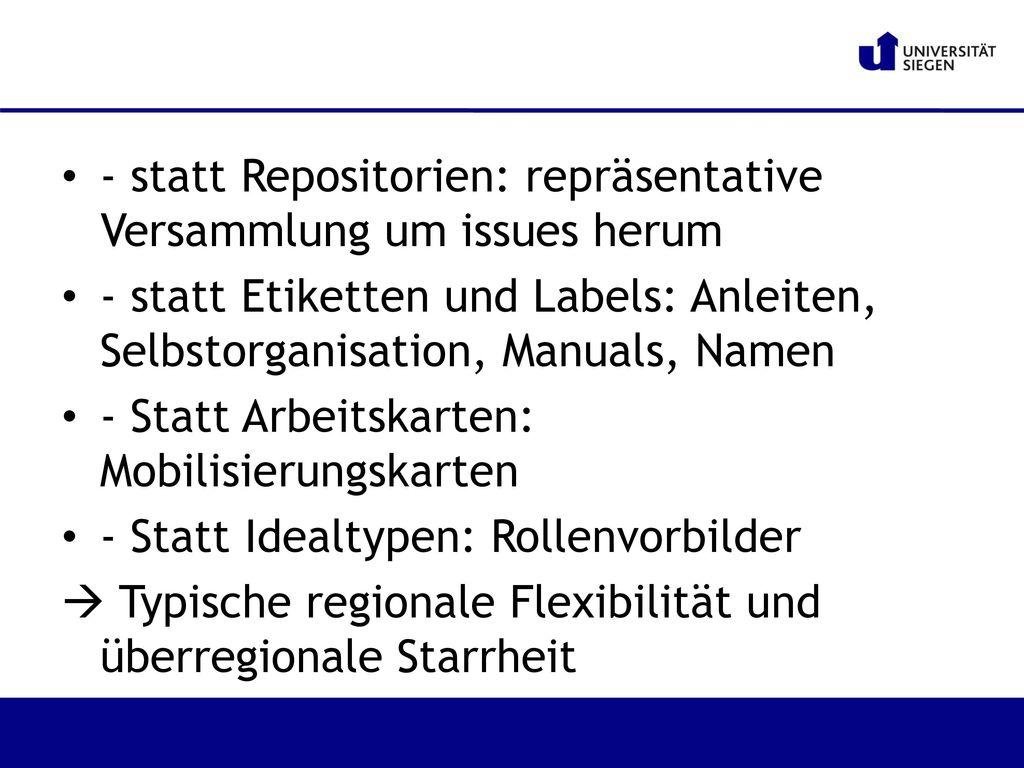 - statt Repositorien: repräsentative Versammlung um issues herum