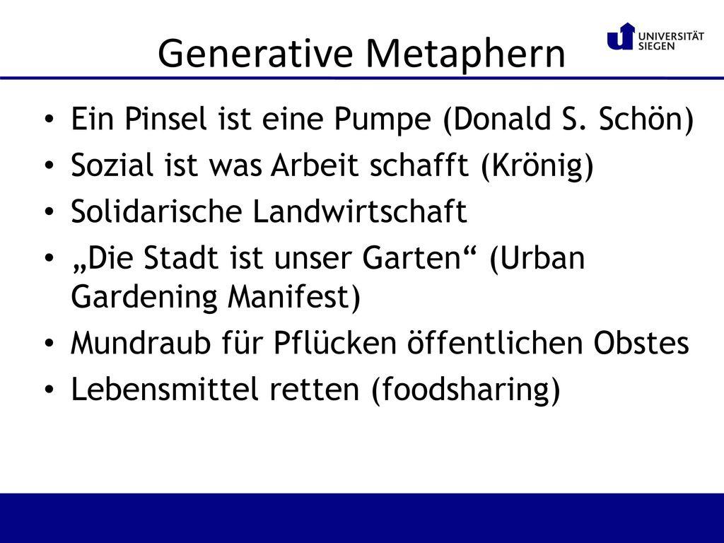 Generative Metaphern Ein Pinsel ist eine Pumpe (Donald S. Schön)