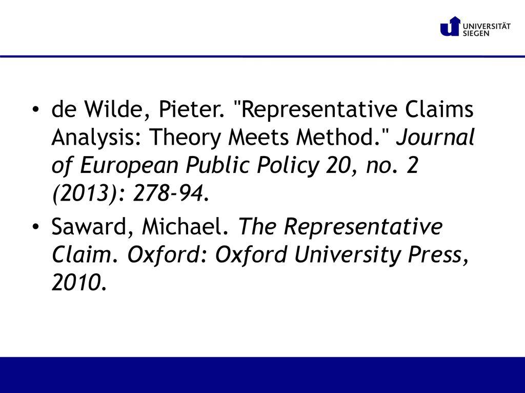 de Wilde, Pieter. Representative Claims Analysis: Theory Meets Method