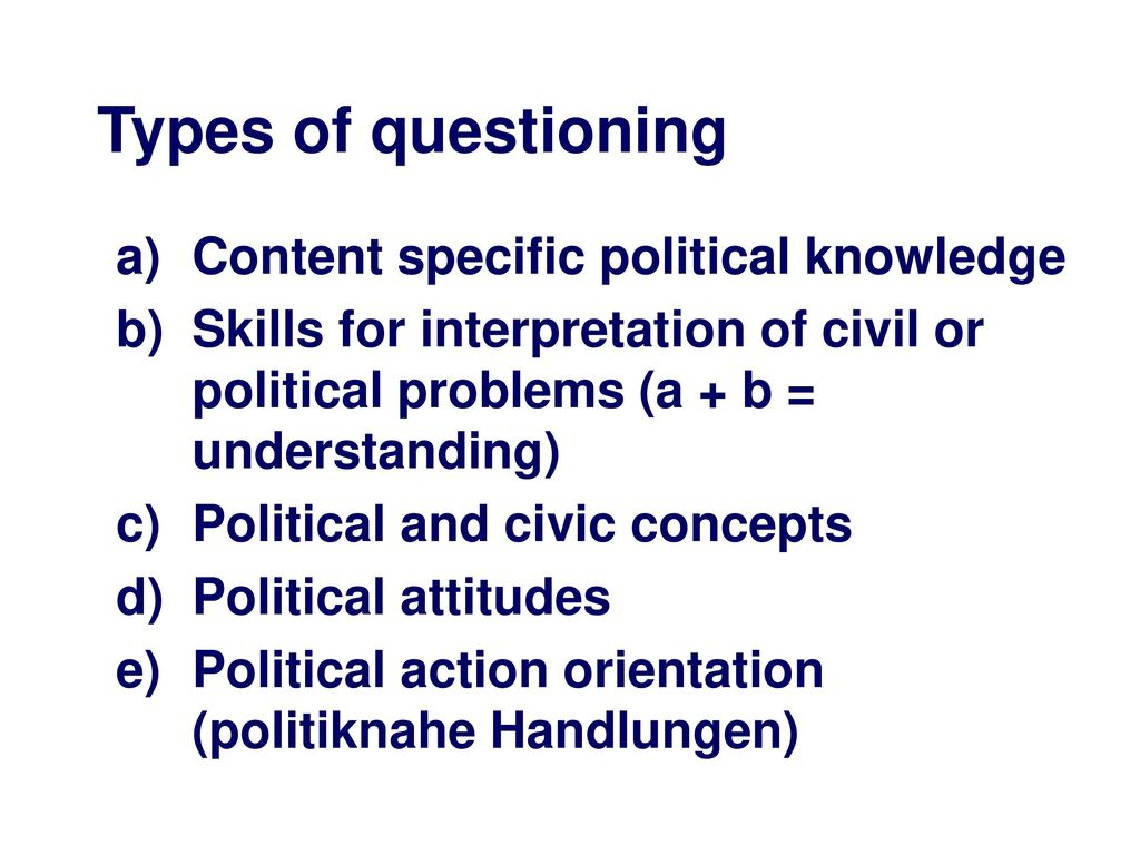 Types of questioning Content specific political knowledge