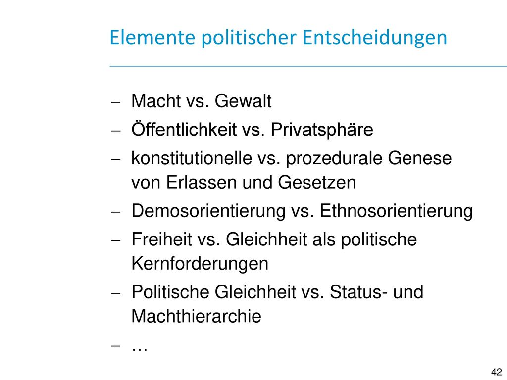 Elemente politischer Entscheidungen