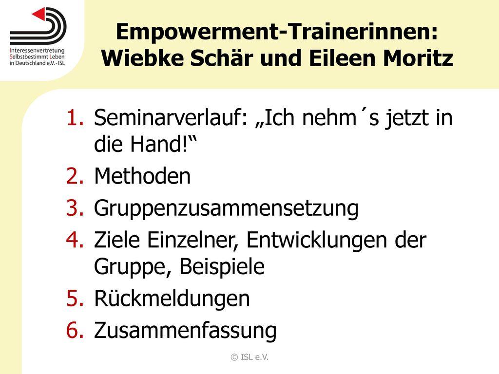 Empowerment-Trainerinnen: Wiebke Schär und Eileen Moritz