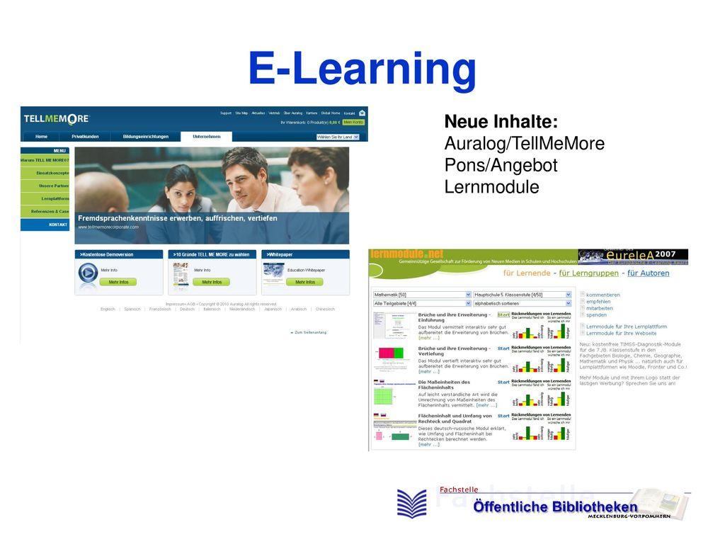 E-Learning Neue Inhalte: Auralog/TellMeMore Pons/Angebot Lernmodule