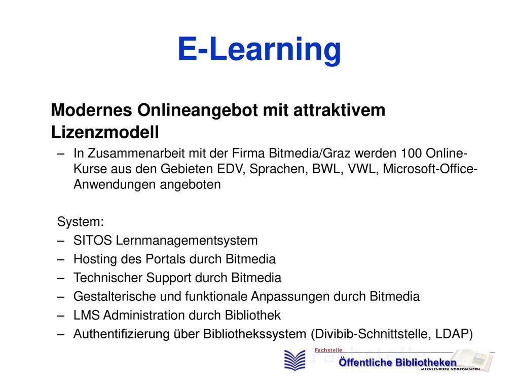 E-Learning Modernes Onlineangebot mit attraktivem Lizenzmodell