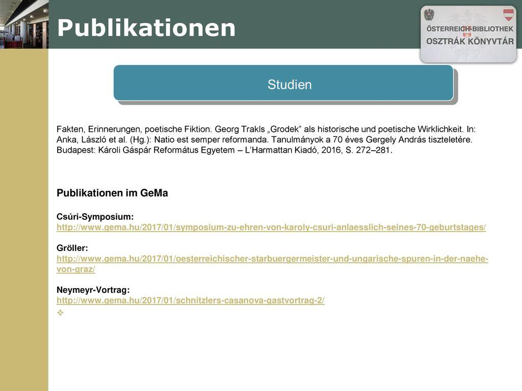 Publikationen Publikationen im GeMa