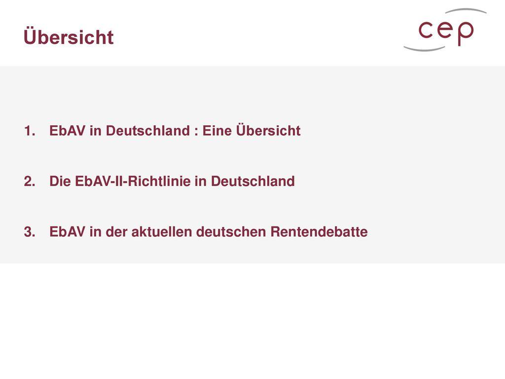 Übersicht EbAV in Deutschland : Eine Übersicht