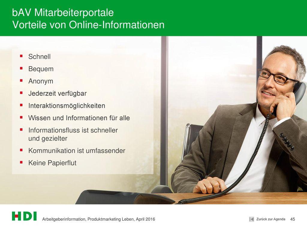 bAV Mitarbeiterportale Vorteile von Online-Informationen