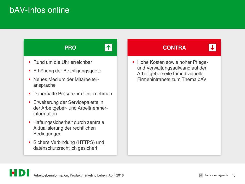 bAV-Infos online PRO CONTRA Rund um die Uhr erreichbar
