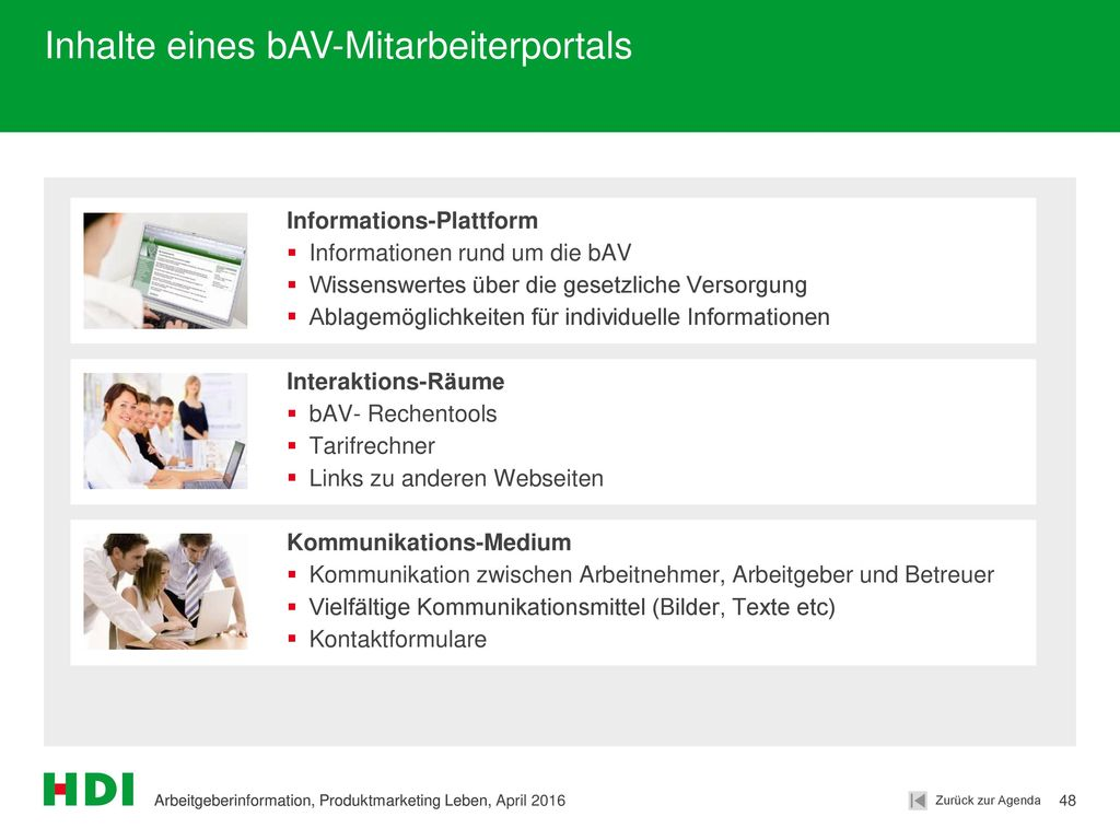Inhalte eines bAV-Mitarbeiterportals