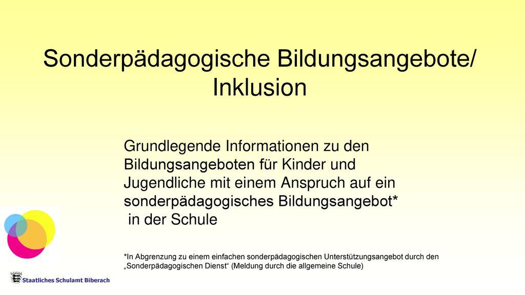 Sonderpädagogische Bildungsangebote/ Inklusion