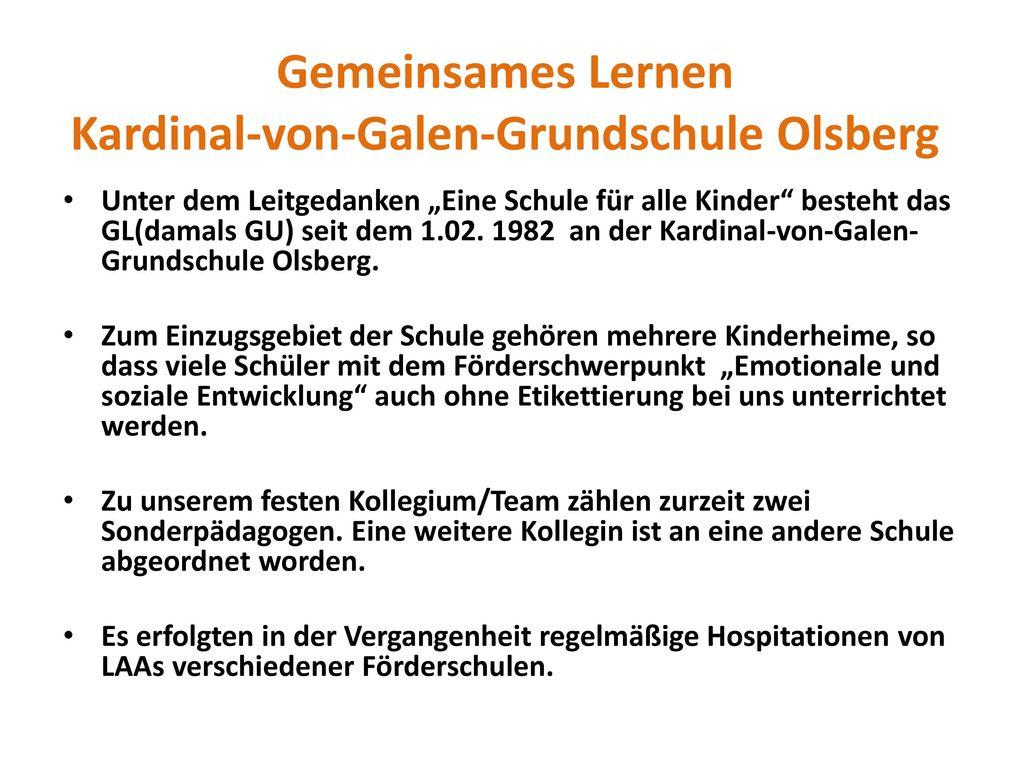 Gemeinsames Lernen Kardinal-von-Galen-Grundschule Olsberg